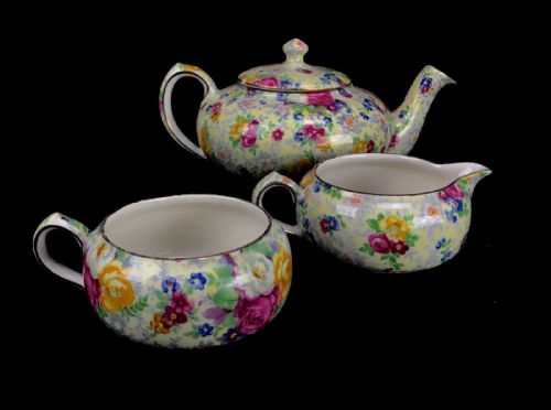 Lord Nelson Ware Rose Time Set / Stackable Tea Pot / Jug / Bowl / Chintz Vintage - 222867335100
